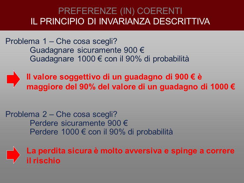 PREFERENZE (IN) COERENTI IL PRINCIPIO DI INVARIANZA DESCRITTIVA Problema 1 – Che cosa scegli? Guadagnare sicuramente 900 € Guadagnare 1000 € con il 90