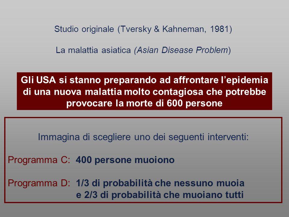 Immagina di scegliere uno dei seguenti interventi: Programma C: 400 persone muoiono Programma D: 1/3 di probabilità che nessuno muoia e 2/3 di probabi