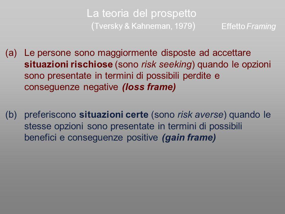 La teoria del prospetto ( Tversky & Kahneman, 1979 ) preferiscono situazioni certe (sono risk averse) quando le stesse opzioni sono presentate in term