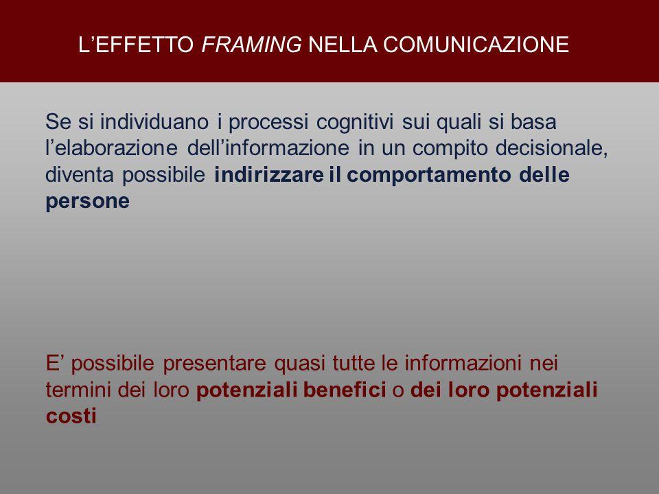 Se si individuano i processi cognitivi sui quali si basa l'elaborazione dell'informazione in un compito decisionale, diventa possibile indirizzare il