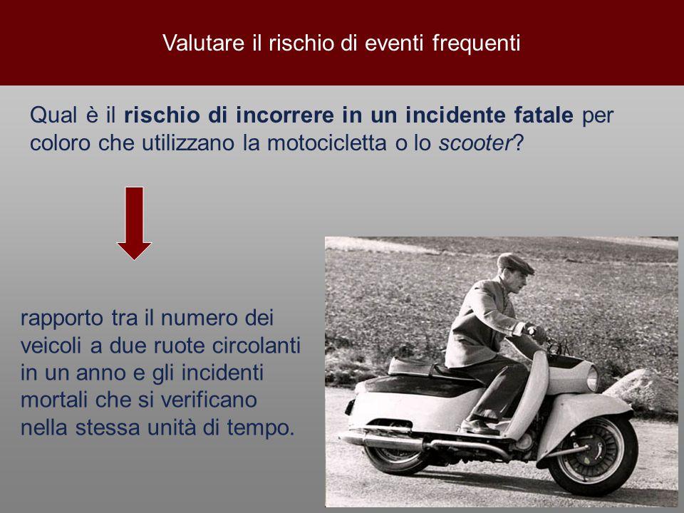 Valutare il rischio di eventi frequenti Qual è il rischio di incorrere in un incidente fatale per coloro che utilizzano la motocicletta o lo scooter?