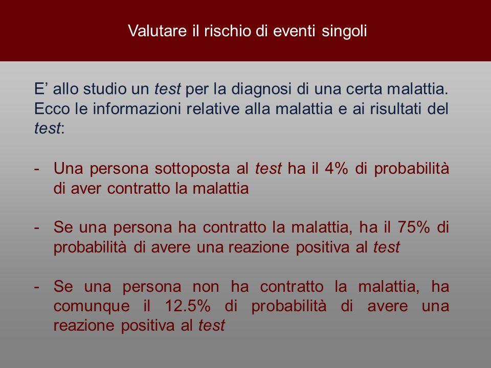 Valutare il rischio di eventi singoli E' allo studio un test per la diagnosi di una certa malattia. Ecco le informazioni relative alla malattia e ai r