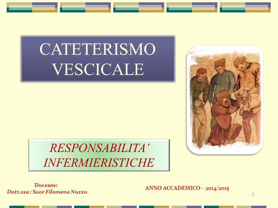 1 CATETERISMO VESCICALE RESPONSABILITA' INFERMIERISTICHE Docente: Dott.ssa : Suor Filomena Nuzzo ANNO ACCADEMICO - 2014/2015