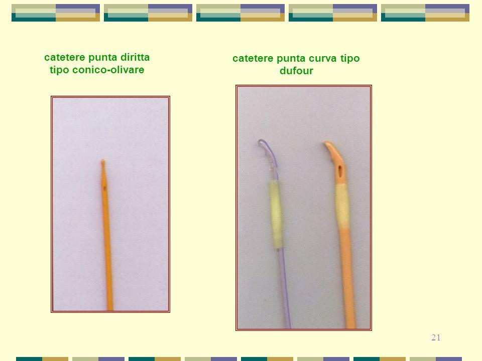 21 catetere punta diritta tipo conico-olivare catetere punta curva tipo dufour