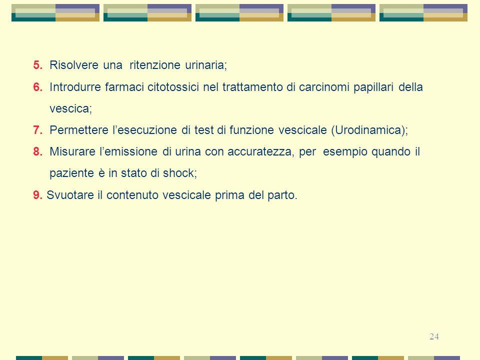 24 5. Risolvere una ritenzione urinaria; 6. Introdurre farmaci citotossici nel trattamento di carcinomi papillari della vescica; 7. Permettere l'esecu