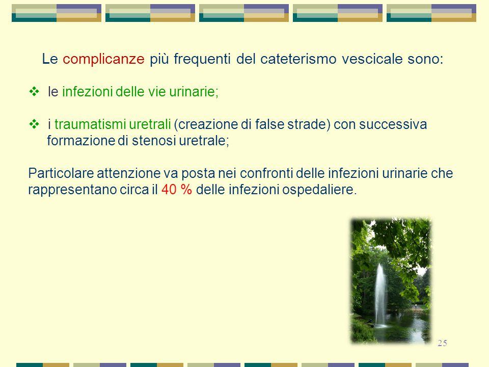 25 Le complicanze più frequenti del cateterismo vescicale sono:  le infezioni delle vie urinarie;  i traumatismi uretrali (creazione di false strade