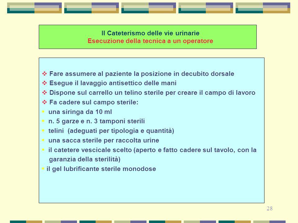 28 Il Cateterismo delle vie urinarie Esecuzione della tecnica a un operatore  Fare assumere al paziente la posizione in decubito dorsale  Esegue il