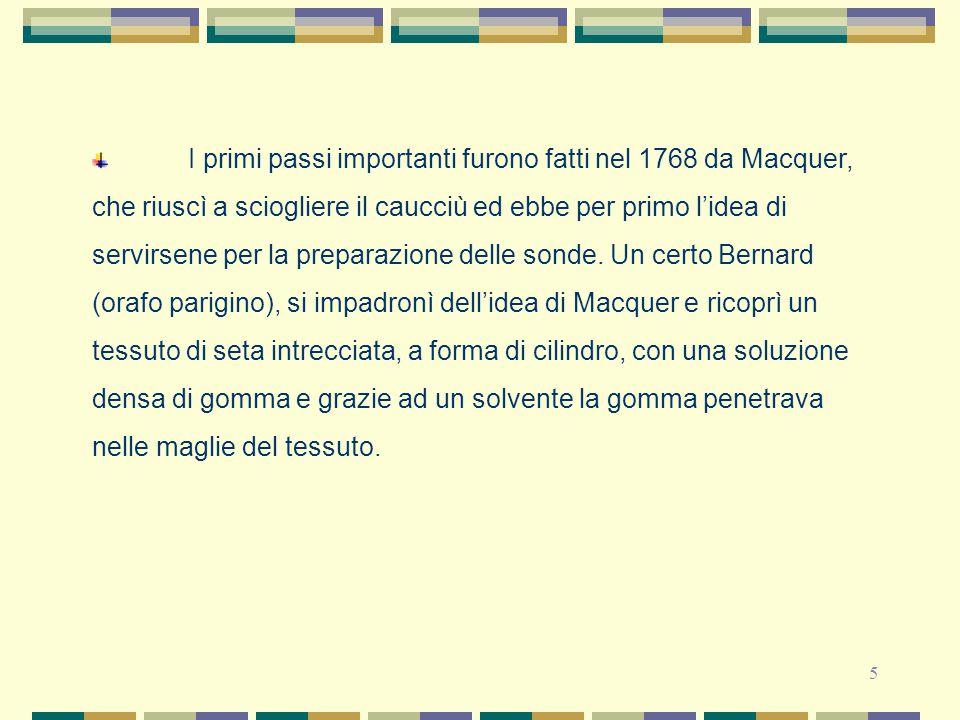 5 I primi passi importanti furono fatti nel 1768 da Macquer, che riuscì a sciogliere il caucciù ed ebbe per primo l'idea di servirsene per la preparaz
