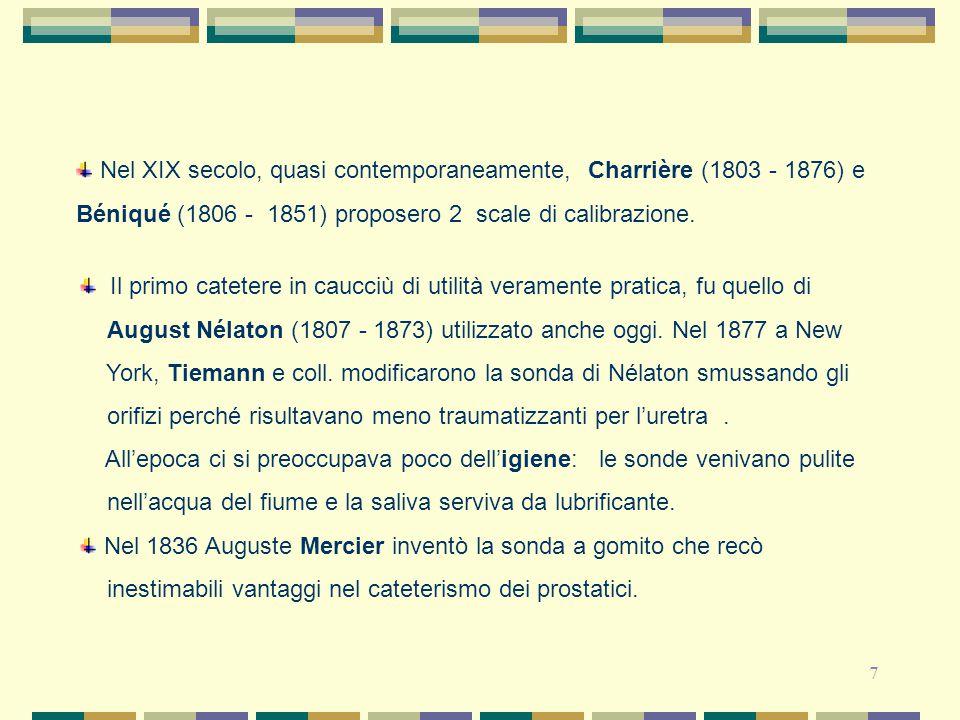 7 Nel XIX secolo, quasi contemporaneamente, Charrière (1803 - 1876) e Béniqué (1806 - 1851) proposero 2 scale di calibrazione. Il primo catetere in ca