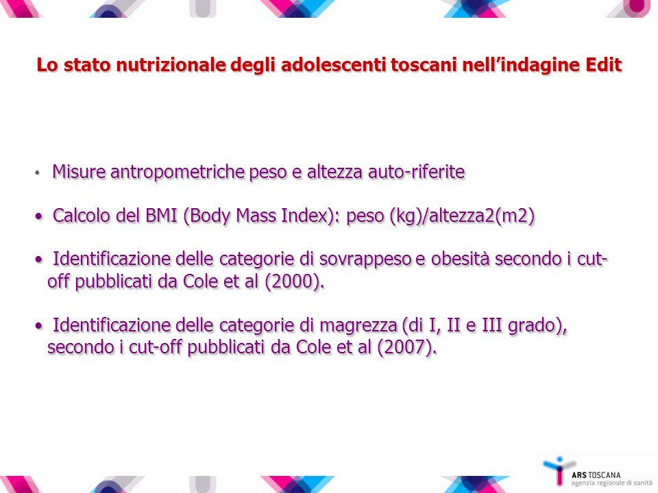 Lo stato nutrizionale degli adolescenti toscani nell'indagine Edit Misure antropometriche peso e altezza auto-riferite Calcolo del BMI (Body Mass Index): peso (kg)/altezza2(m2) Calcolo del BMI (Body Mass Index): peso (kg)/altezza2(m2) Identificazione delle categorie di sovrappeso e obesit à secondo i cut- off pubblicati da Cole et al (2000).