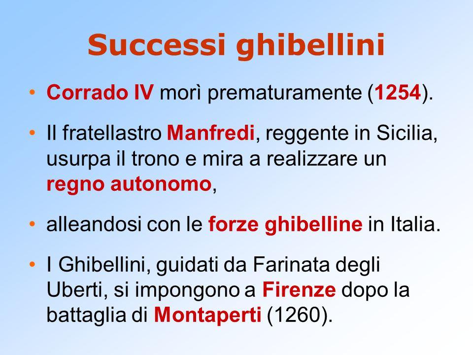 Successi ghibellini Corrado IV morì prematuramente (1254). Il fratellastro Manfredi, reggente in Sicilia, usurpa il trono e mira a realizzare un regno