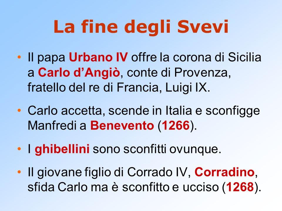 La fine degli Svevi Il papa Urbano IV offre la corona di Sicilia a Carlo d'Angiò, conte di Provenza, fratello del re di Francia, Luigi IX. Carlo accet