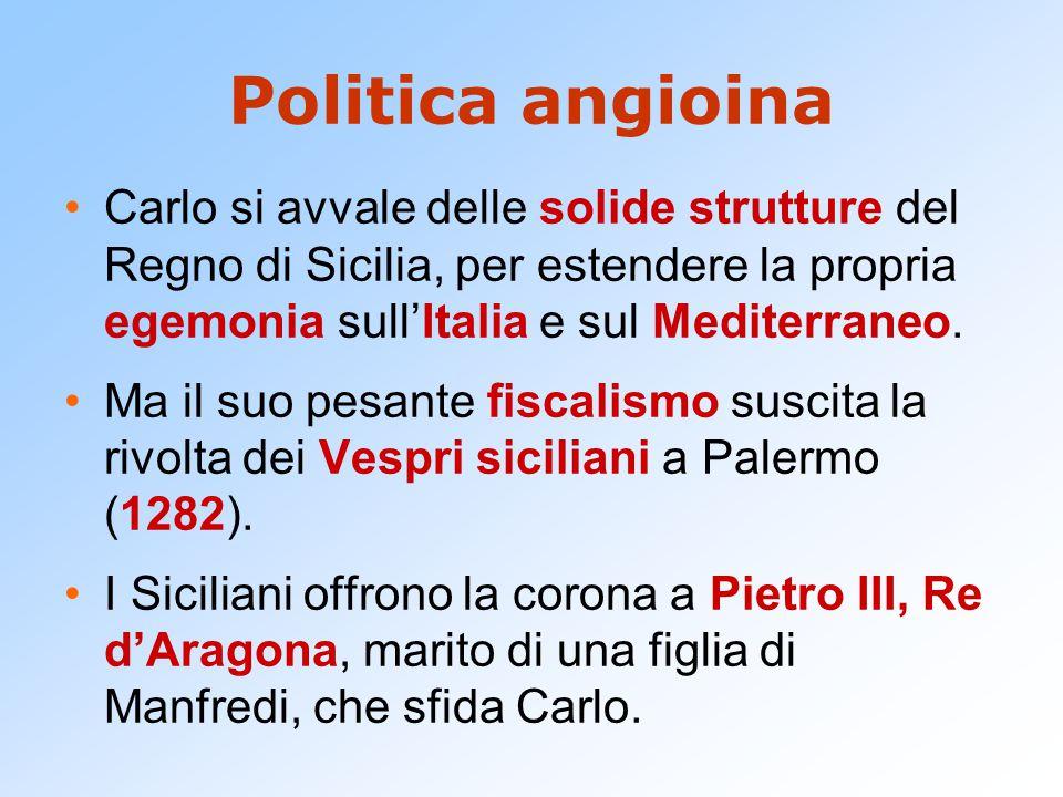 Politica angioina Carlo si avvale delle solide strutture del Regno di Sicilia, per estendere la propria egemonia sull'Italia e sul Mediterraneo. Ma il