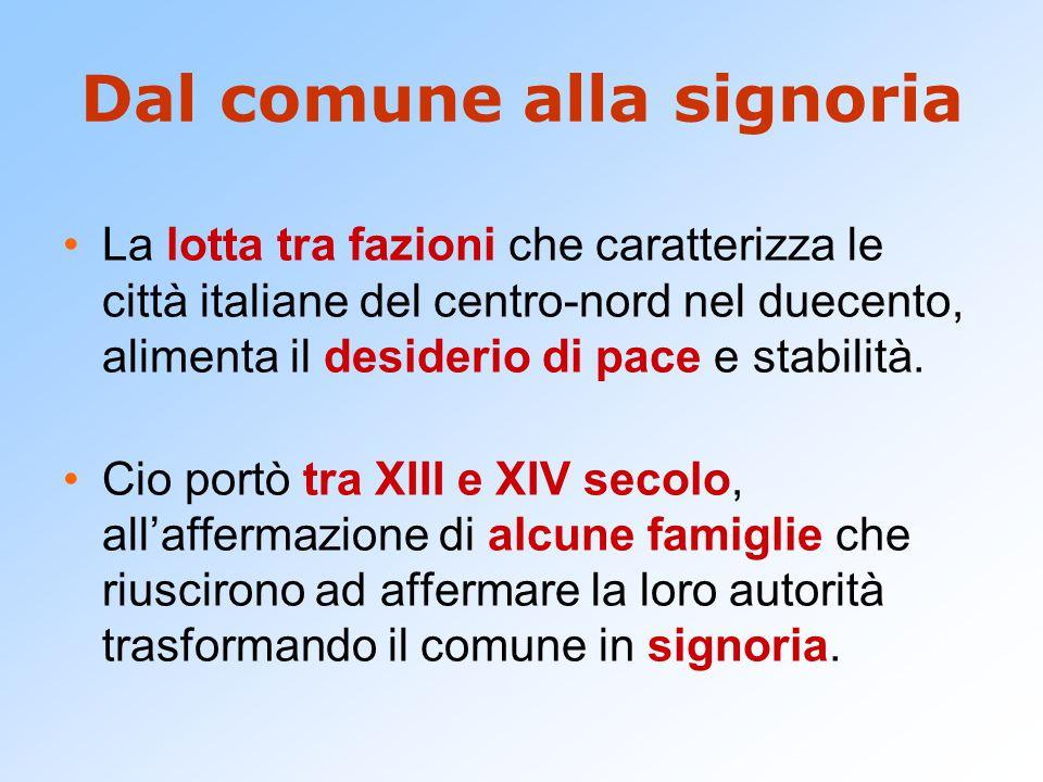 Signoria Per Signoria in questo caso si intende, in relazione all'evoluzione dei comuni italiani:  una magistratura straordinaria,  sovrapposta ai normali organismi del comune,  tendenzialmente orientata in senso dinastico.