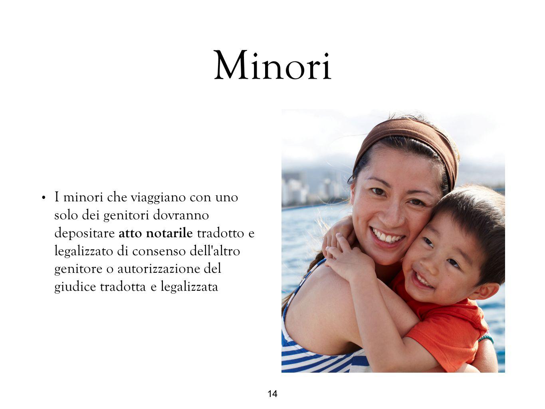 14 Minori I minori che viaggiano con uno solo dei genitori dovranno depositare atto notarile tradotto e legalizzato di consenso dell'altro genitore o