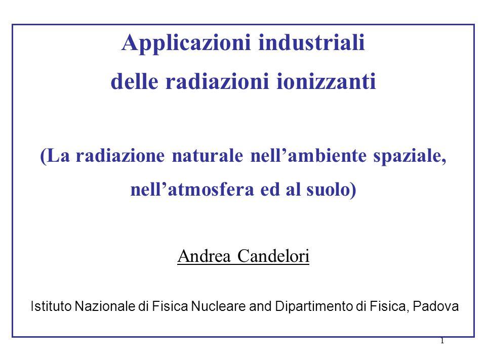 1 Applicazioni industriali delle radiazioni ionizzanti (La radiazione naturale nell'ambiente spaziale, nell'atmosfera ed al suolo) Andrea Candelori Is