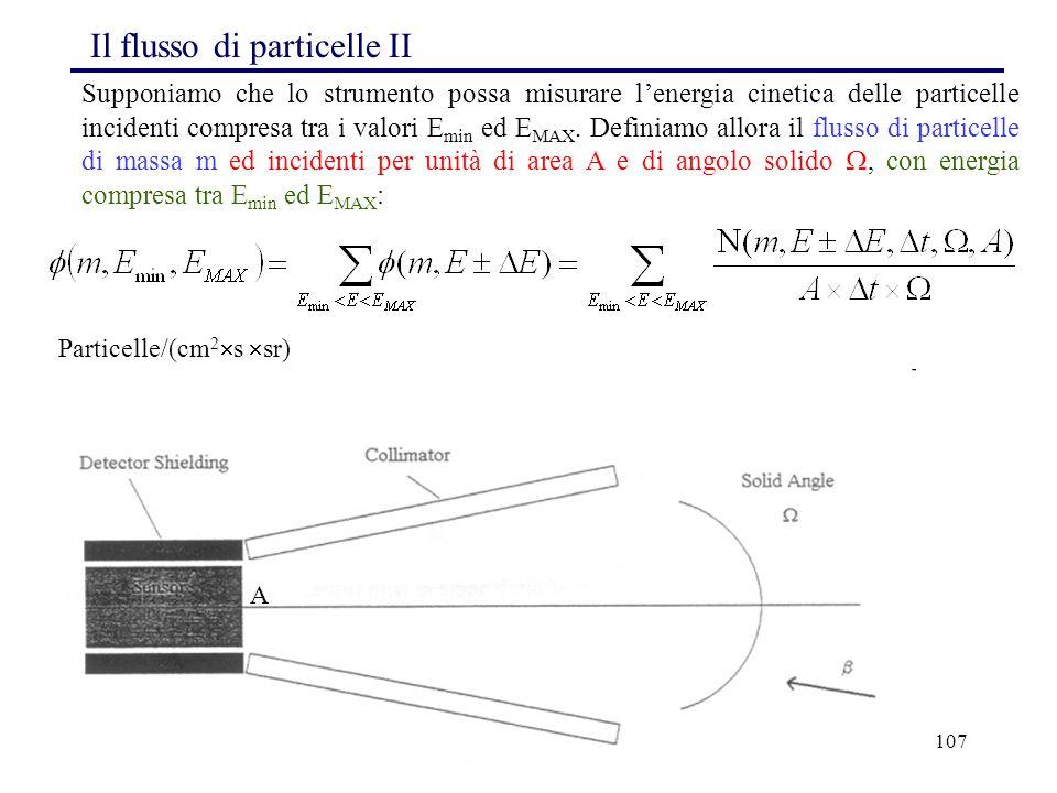 107 A Il flusso di particelle II Supponiamo che lo strumento possa misurare l'energia cinetica delle particelle incidenti compresa tra i valori E min