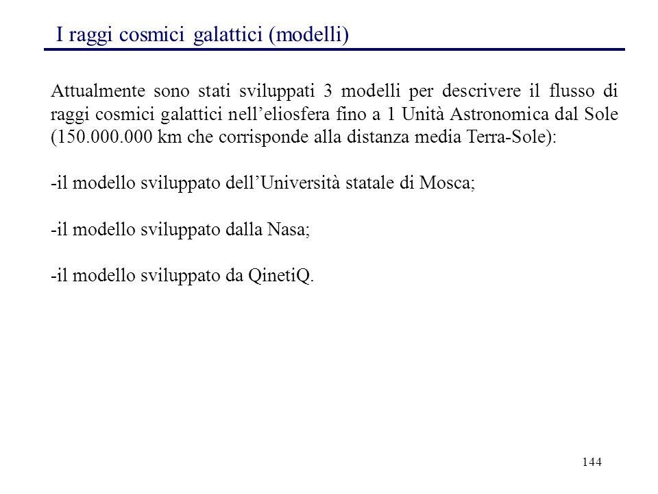 144 I raggi cosmici galattici (modelli) Attualmente sono stati sviluppati 3 modelli per descrivere il flusso di raggi cosmici galattici nell'eliosfera