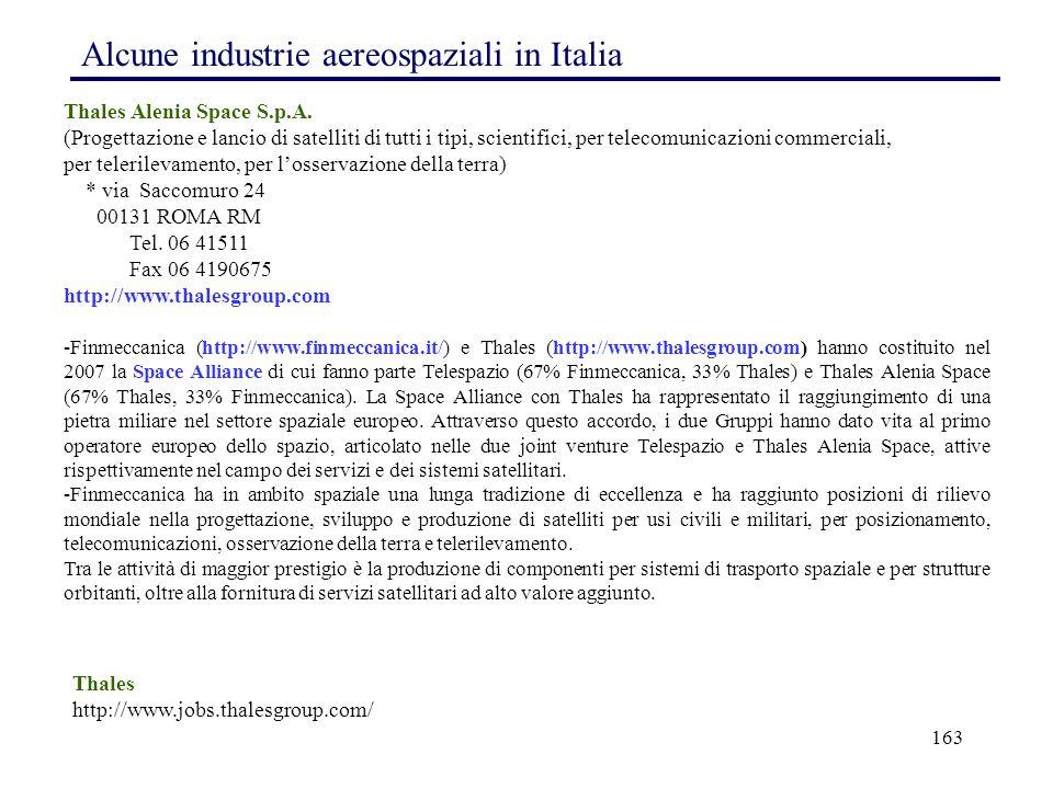 163 Alcune industrie aereospaziali in Italia Thales Alenia Space S.p.A. (Progettazione e lancio di satelliti di tutti i tipi, scientifici, per telecom