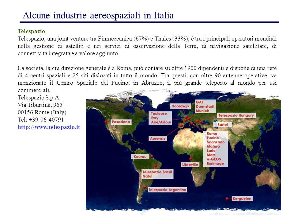 164 Telespazio Telespazio, una joint venture tra Finmeccanica (67%) e Thales (33%), è tra i principali operatori mondiali nella gestione di satelliti