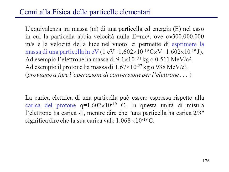 176 Cenni alla Fisica delle particelle elementari L'equivalenza tra massa (m) di una particella ed energia (E) nel caso in cui la particella abbia vel