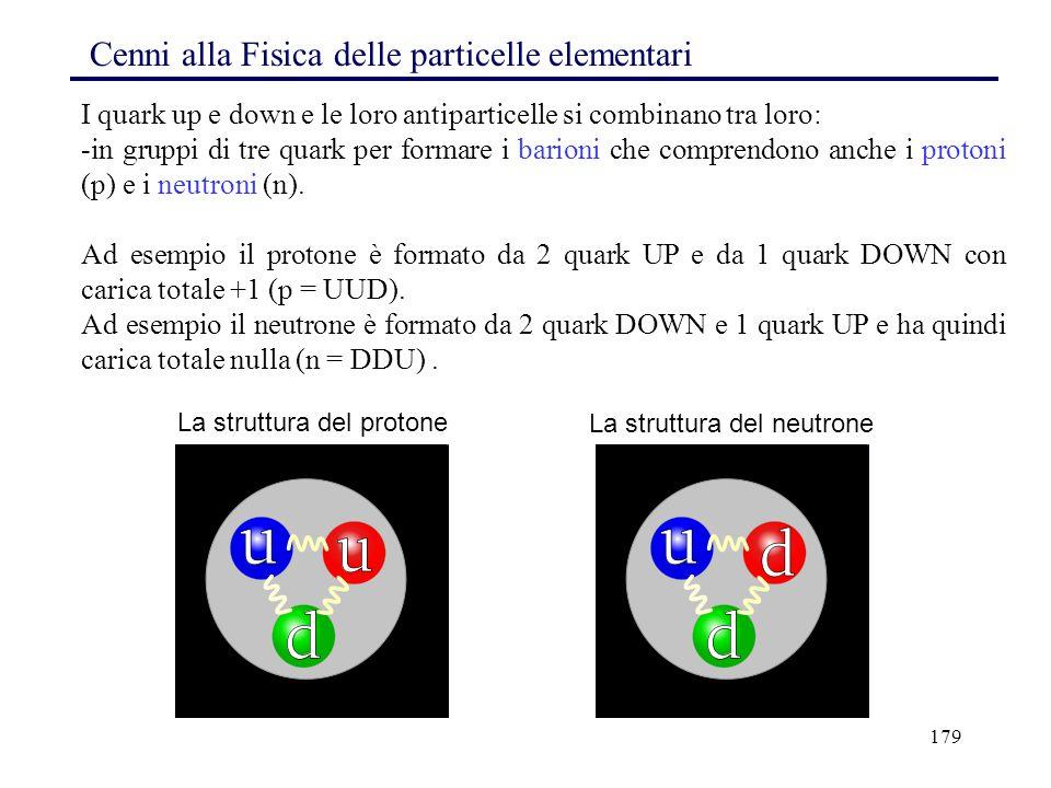 179 I quark up e down e le loro antiparticelle si combinano tra loro: -in gruppi di tre quark per formare i barioni che comprendono anche i protoni (p