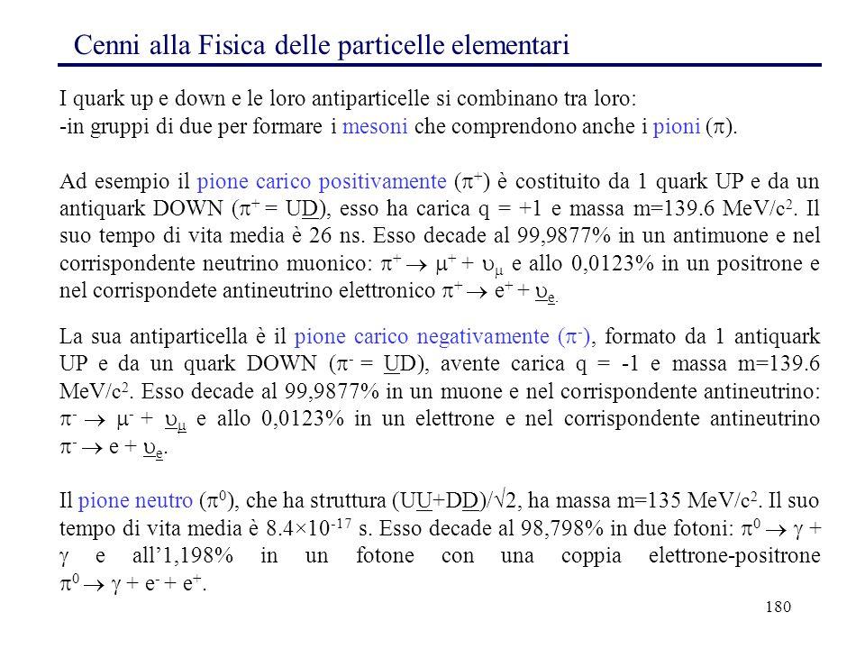 180 Cenni alla Fisica delle particelle elementari I quark up e down e le loro antiparticelle si combinano tra loro: -in gruppi di due per formare i me