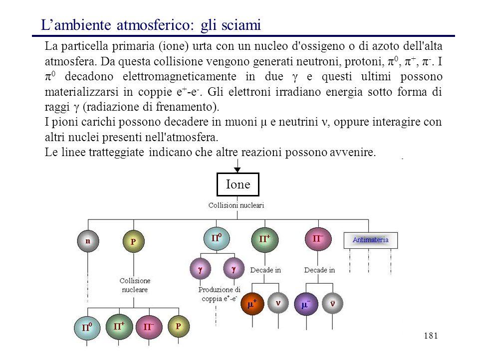 181 La particella primaria (ione) urta con un nucleo d'ossigeno o di azoto dell'alta atmosfera. Da questa collisione vengono generati neutroni, proton