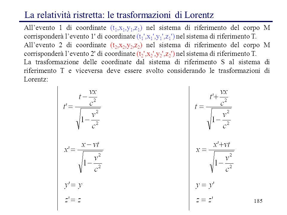 185 All'evento 1 di coordinate (t 1,x 1,y 1,z 1 ) nel sistema di riferimento del corpo M corrisponderà l'evento 1' di coordinate (t 1 ',x 1 ',y 1 ',z