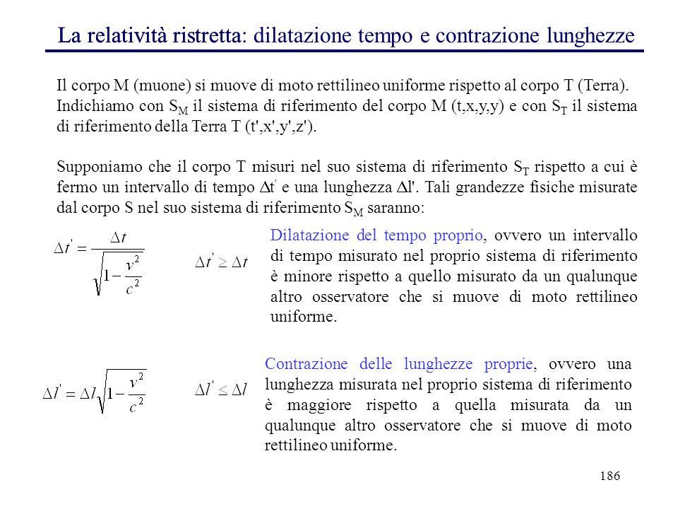 186 La relatività ristrettaLa relatività ristretta: dilatazione tempo e contrazione lunghezze Il corpo M (muone) si muove di moto rettilineo uniforme