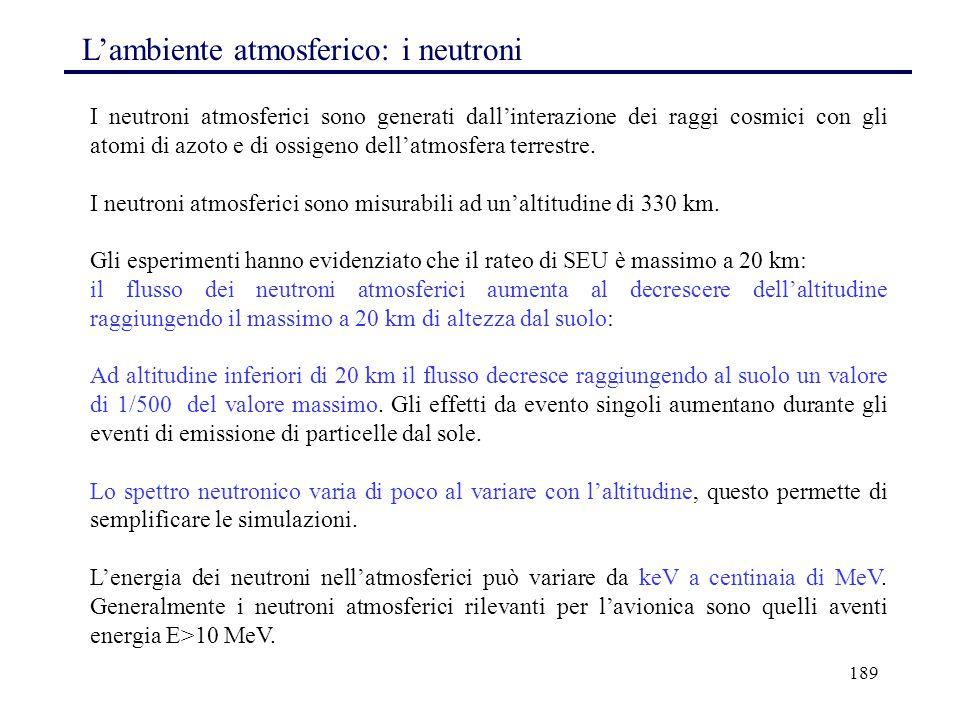 189 L'ambiente atmosferico: i neutroni I neutroni atmosferici sono generati dall'interazione dei raggi cosmici con gli atomi di azoto e di ossigeno de