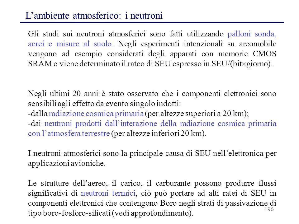 190 L'ambiente atmosferico: i neutroni Gli studi sui neutroni atmosferici sono fatti utilizzando palloni sonda, aerei e misure al suolo. Negli esperim