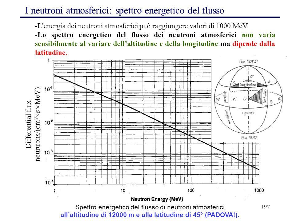 197 I neutroni atmosferici: spettro energetico del flusso Spettro energetico del flusso di neutroni atmosferici all'altitudine di 12000 m e alla latit