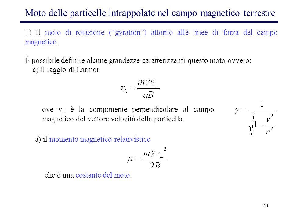 """20 Moto delle particelle intrappolate nel campo magnetico terrestre 1) Il moto di rotazione (""""gyration"""") attorno alle linee di forza del campo magneti"""