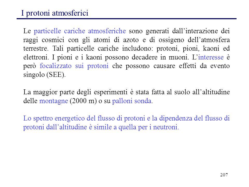 207 I protoni atmosferici Le particelle cariche atmosferiche sono generati dall'interazione dei raggi cosmici con gli atomi di azoto e di ossigeno del