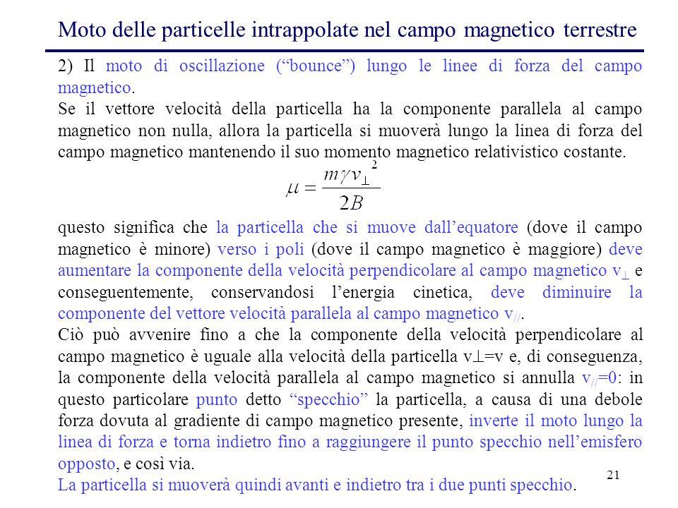 """21 2) Il moto di oscillazione (""""bounce"""") lungo le linee di forza del campo magnetico. Se il vettore velocità della particella ha la componente paralle"""