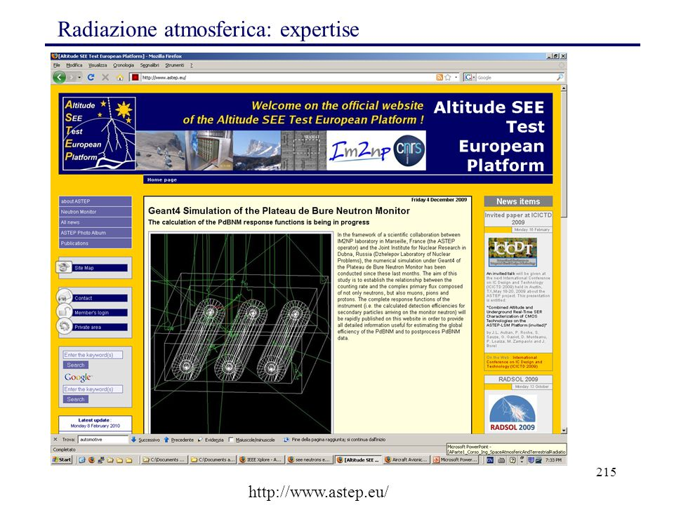 215 Radiazione atmosferica: expertise http://www.astep.eu/