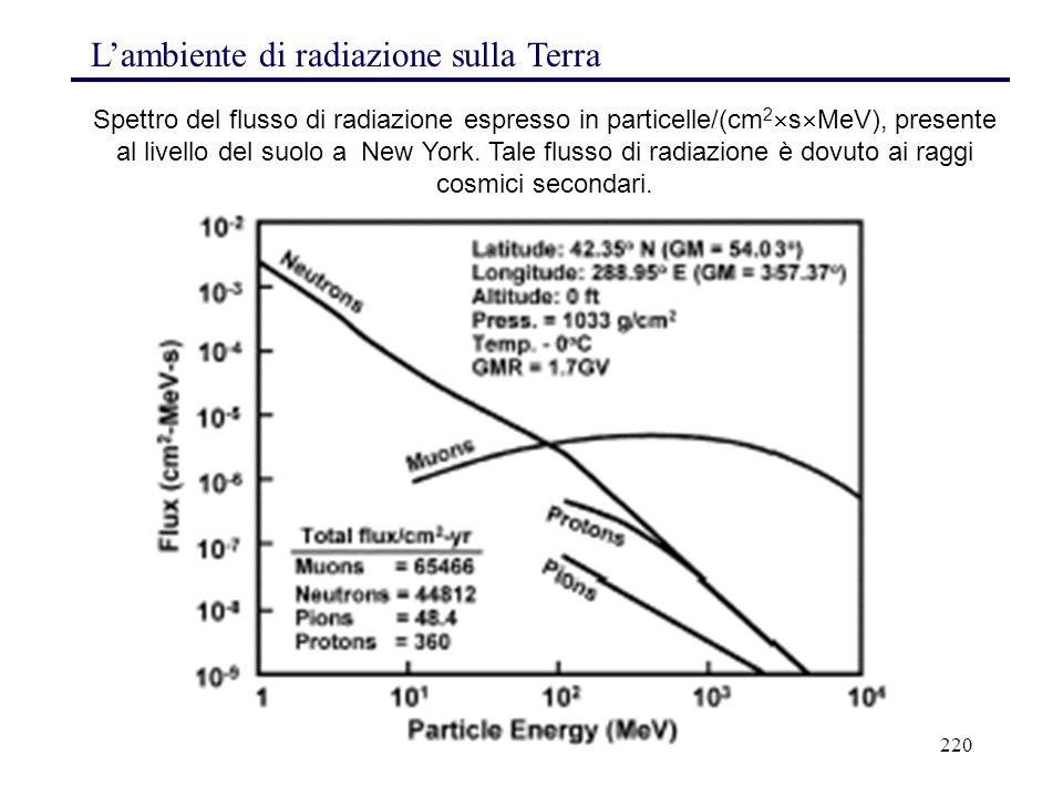 220 L'ambiente di radiazione sulla Terra Spettro del flusso di radiazione espresso in particelle/(cm 2  s  MeV), presente al livello del suolo a New