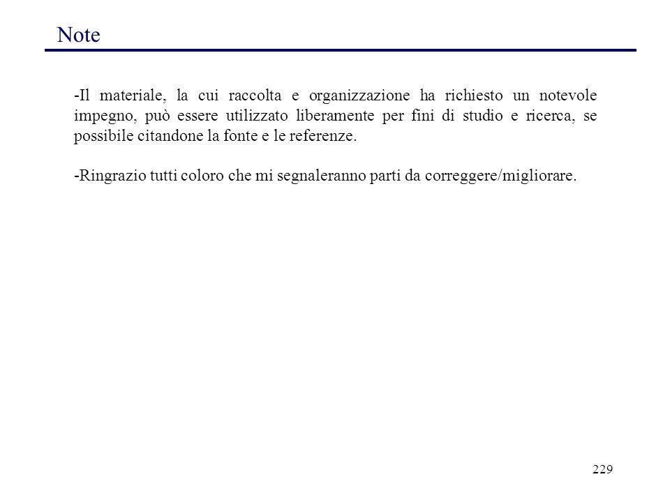 229 Note -Il materiale, la cui raccolta e organizzazione ha richiesto un notevole impegno, può essere utilizzato liberamente per fini di studio e rice