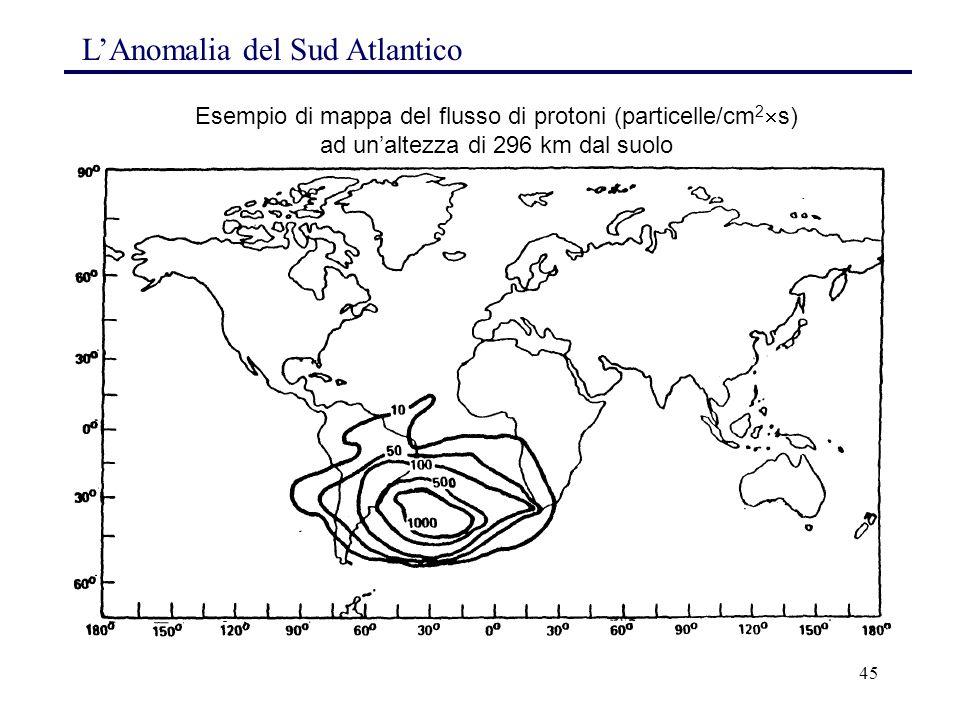 45 Esempio di mappa del flusso di protoni (particelle/cm 2  s) ad un'altezza di 296 km dal suolo L'Anomalia del Sud Atlantico