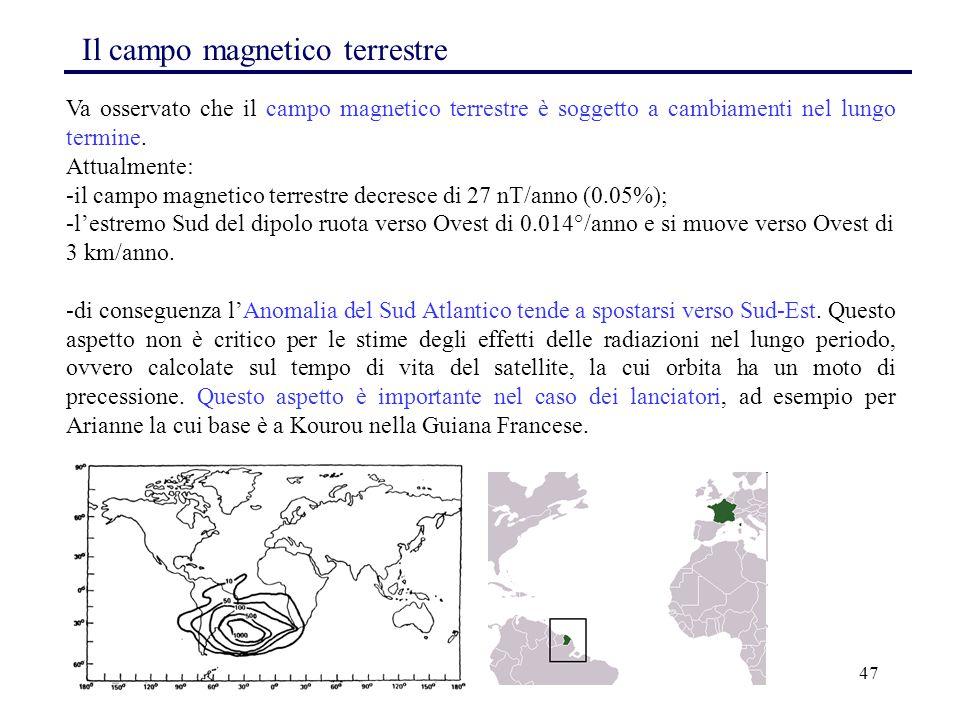 47 Va osservato che il campo magnetico terrestre è soggetto a cambiamenti nel lungo termine. Attualmente: -il campo magnetico terrestre decresce di 27