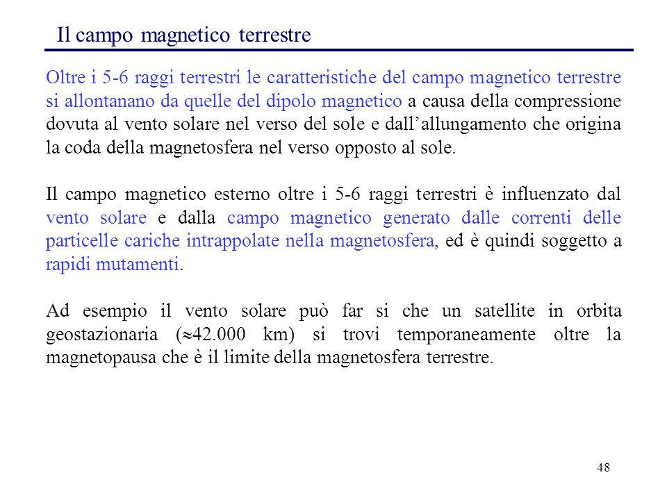 48 Il campo magnetico terrestre Oltre i 5-6 raggi terrestri le caratteristiche del campo magnetico terrestre si allontanano da quelle del dipolo magne