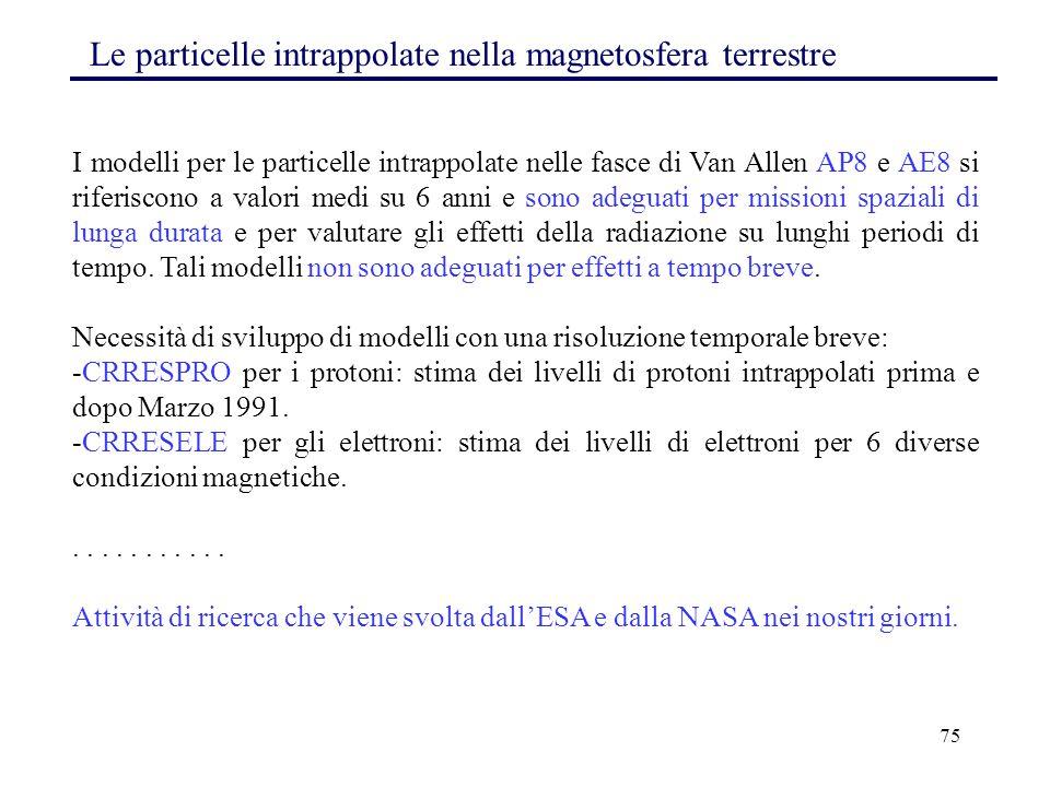 75 Le particelle intrappolate nella magnetosfera terrestre I modelli per le particelle intrappolate nelle fasce di Van Allen AP8 e AE8 si riferiscono
