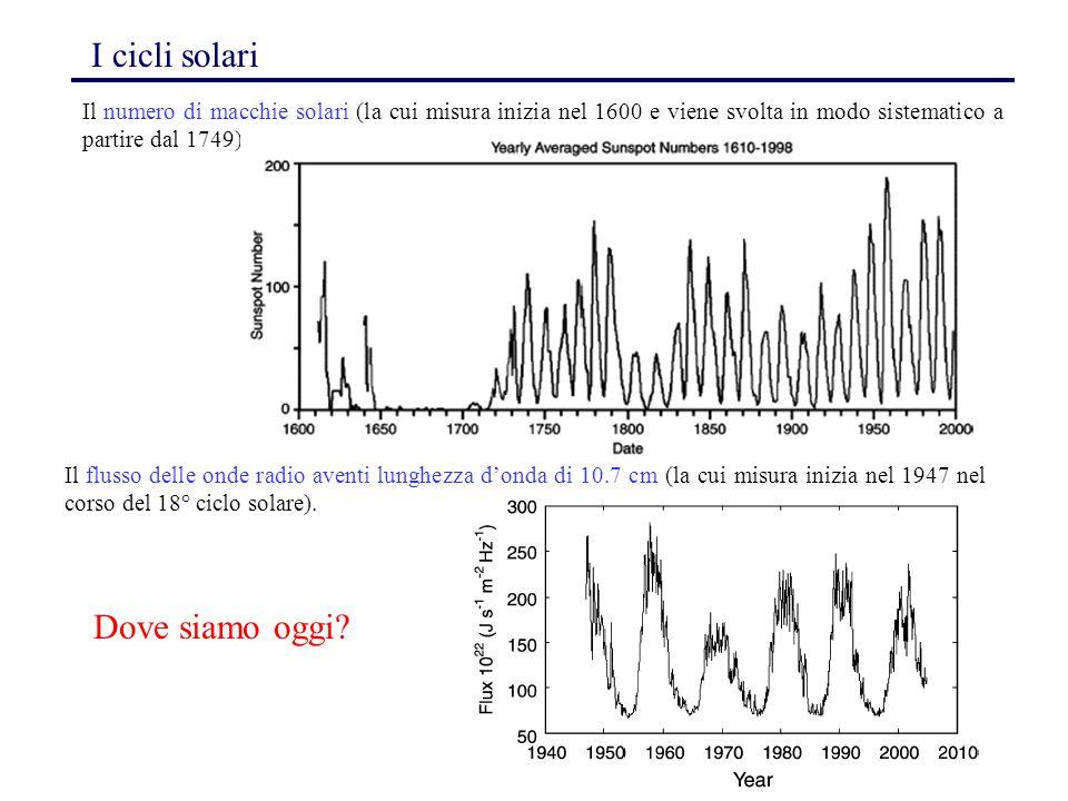78 I cicli solari Il numero di macchie solari (la cui misura inizia nel 1600 e viene svolta in modo sistematico a partire dal 1749) Il flusso delle on