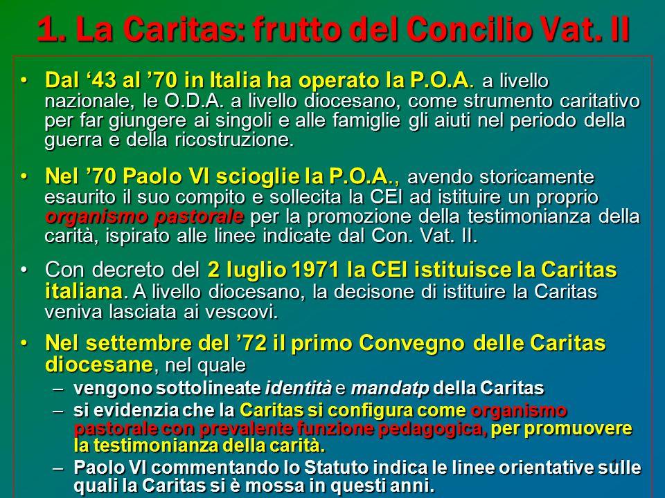 11 1.La Caritas: frutto del Concilio Vat. II Dal '43 al '70 in Italia ha operato la P.O.A.