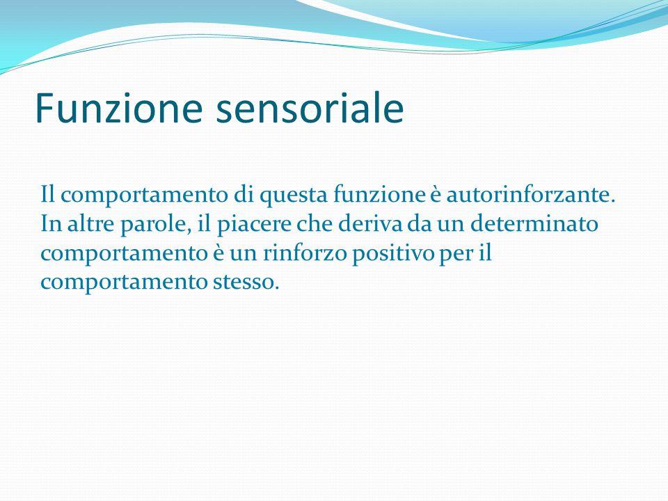 Funzione sensoriale Il comportamento di questa funzione è autorinforzante. In altre parole, il piacere che deriva da un determinato comportamento è un