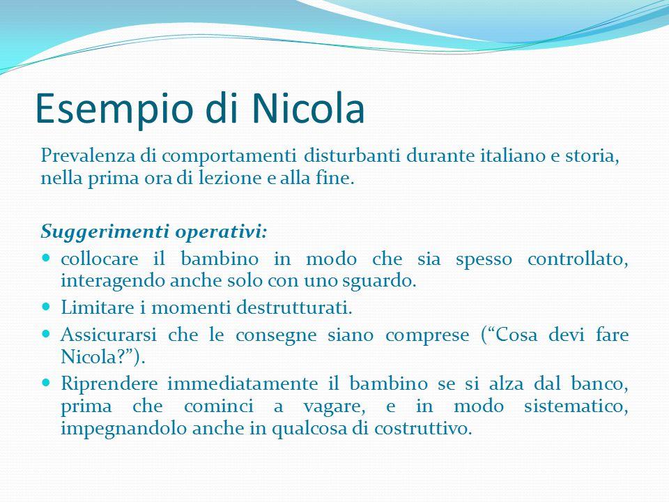 Esempio di Nicola Prevalenza di comportamenti disturbanti durante italiano e storia, nella prima ora di lezione e alla fine. Suggerimenti operativi: c