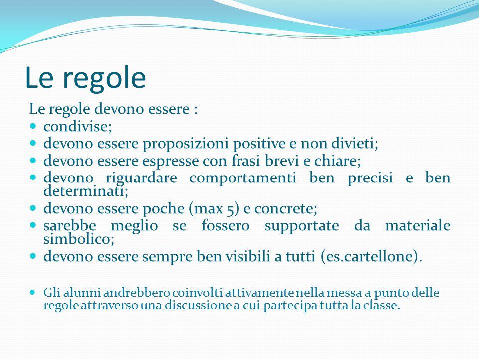 Le regole Le regole devono essere : condivise; devono essere proposizioni positive e non divieti; devono essere espresse con frasi brevi e chiare; dev