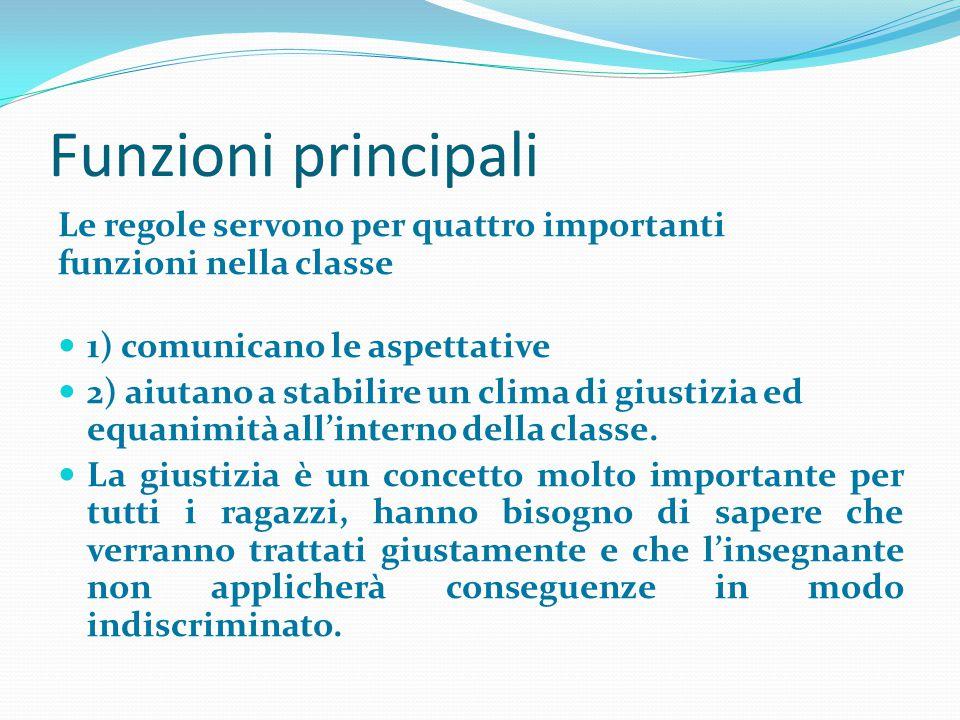 Funzioni principali Le regole servono per quattro importanti funzioni nella classe 1) comunicano le aspettative 2) aiutano a stabilire un clima di giu