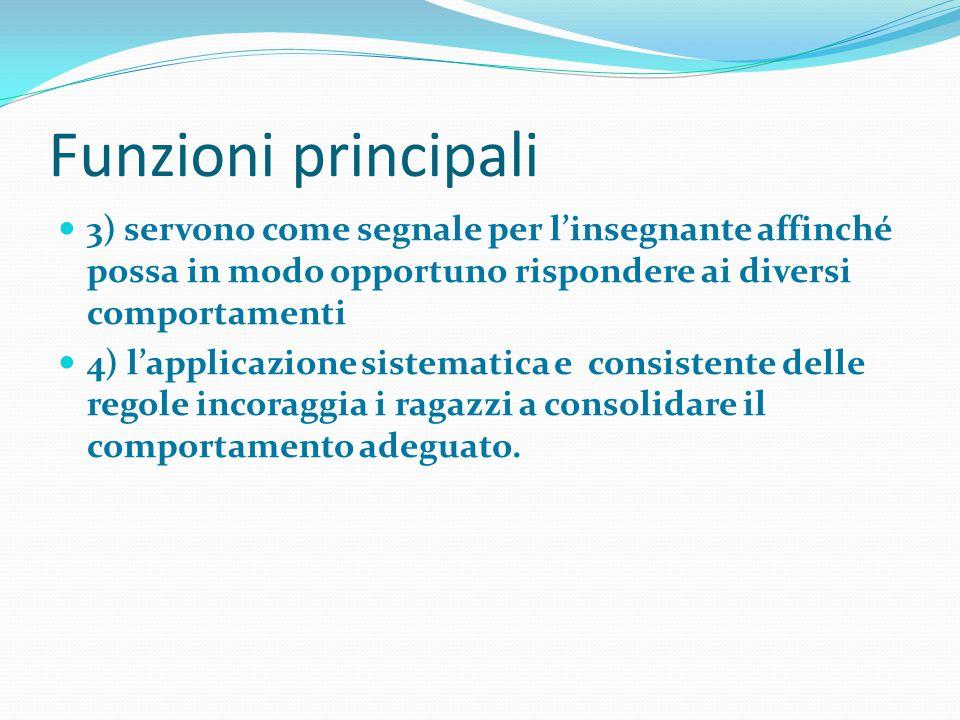 Funzioni principali 3) servono come segnale per l'insegnante affinché possa in modo opportuno rispondere ai diversi comportamenti 4) l'applicazione si